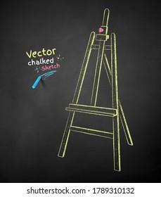 Vector color chalk drawn illustration of easel on black chalkboard background.