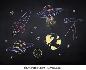 Vector color chalk drawn illustration collection of space objects on black chalkboard background.