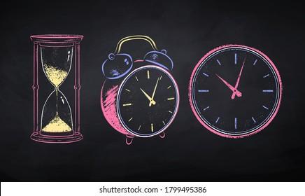 Vector color chalk drawn illustration set of clock on black chalkboard background.