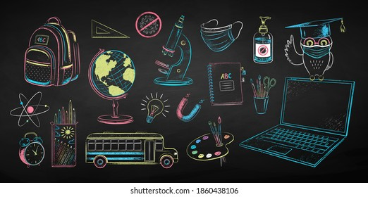 Vector color chalk drawn illustration set of new normal education objects and owl sitting on laptop wearing face mask on black chalkboard background.