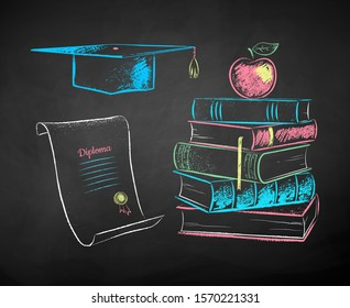 Vector color chalk drawn illustrations set of mortarboard, diploma scroll and apple on books on black chalkboard background.