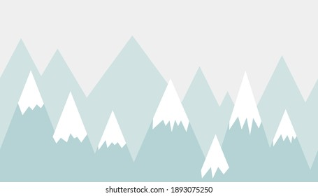 Vector color children hand drawn doodle mountain illustration in scandinavian style. Mountain landscape. Children's wallpaper. Mountainscape, children's room design, wall decor.