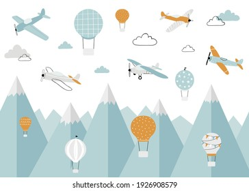 Vector color children hand drawn  mountain, aircraft, air balloon and clouds illustration in scandinavian style. Children's wallpaper. Mountainscape, children's room design, wall decor.