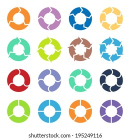 Vector color circle arrows for infographic. Template for diagram, graph, presentation and chart. Business concept with three, four, five and six options, parts, steps or processes.