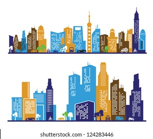 vector color city icons set on white background