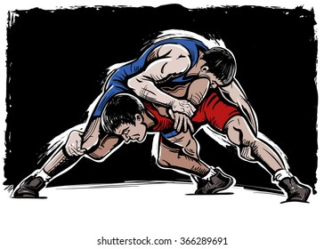 Vector Color Comics Freestyle Wrestling Illustration