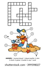 Vector color crossword, education game for children. Small goose sitting on the beach and building sand castles