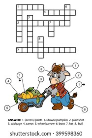 Vector color crossword, education game for children. Character bull gardener with a wheelbarrow full of vegetables