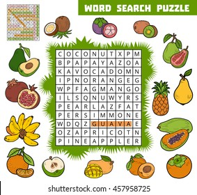 Vector color crossword, education game for children about tropical fruits. Word search puzzle