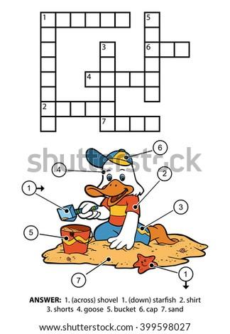 Vector Color Crossword Education Game Children Vector de stock ...