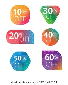Vector color discount label for sales with different percents. Set of Color Sale stickers