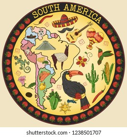 vector color drawing on South America theme, animals, buildings, plants, holidays, continent map, food design elements, sticker circular ornament all illustrations on separate layers