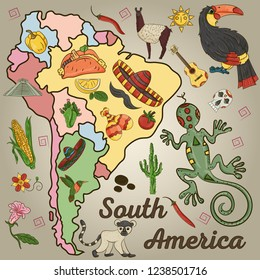 vector color drawing on South America theme, animals, buildings, plants, holidays, continent map, food design elements all illustrations on separate layers