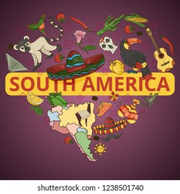 vector color drawing on South America theme, animals, buildings, plants, holidays, continent map, food design elements, sticker all illustrations on separate layers
