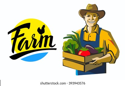 vector color farmer icon on white background
