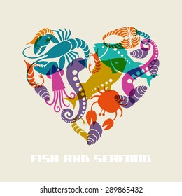 Vector color fish and seafood icon heart. Food sign for menu and market. Illustration for print, web. Original design element