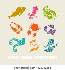 Vector color fish and seafood icon. Food simple sign for menu and market. Color illustration for print, web