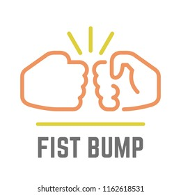 Vector color fist bump line icon of two power hand or together punch for business deal, people clash and impact illustration.