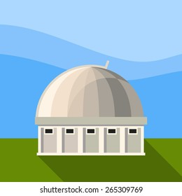 Vector color flat astronomical icon with observatory