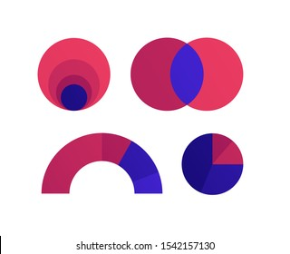 Vector color flat chart diagram icon illustration set. Red and blue diagram collection of venn, gauge, pie and nested area infographic element. Design for finance, statistics, analitics, science.