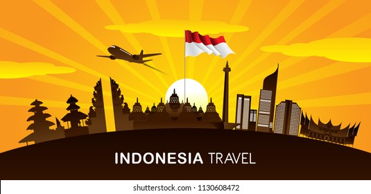 Vector color Flat design, Illustration of Indonesia Icons and landmarks