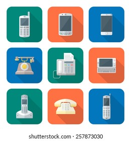 vector color flat design various telephones gadgets devices icons set long shadow
