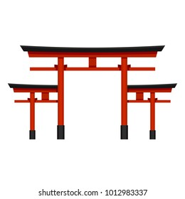 Vector Color Flat Shinto Icon - Big Japanese Red Torii Gate