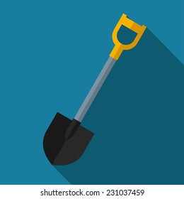 Vector color flat shovel icon. Industrial equipment. Eps10