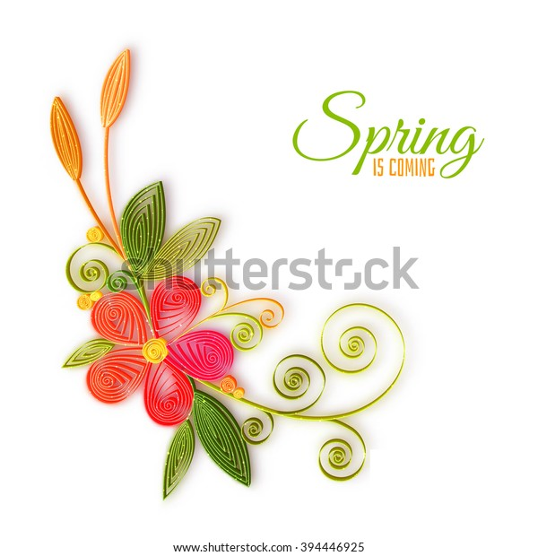 Vetor Stock De Vector Color Flower Branch Quilling Technique