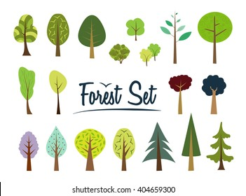 Vector color forest set. Part 1. Various trees and bushes colorful wood cartoons flat style. Fir, pine, spruce, larch. Conifers and deciduous. Different simple trees and shrubs on white background.