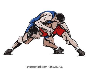 Vector Color Freestyle Wrestling Illustration