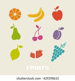 Vector color fruits icon. Food sign. Healthy lifestyle illustration for print, web
