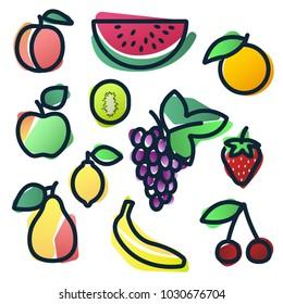 Vector Color Fruits Watercolor Icon set