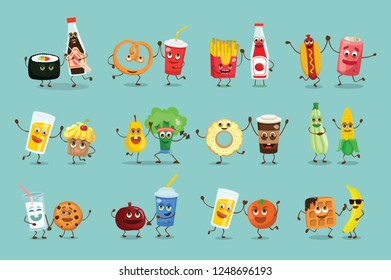 Vector color funny food emoji icons with emotions isolated on dark background in flat cartoon style
