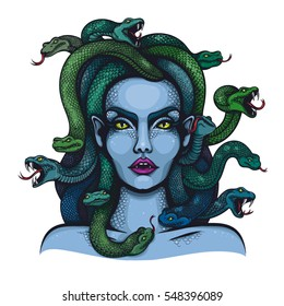 Vector color goddess Medusa Gorgon woman head with snakes Illustration on White Background