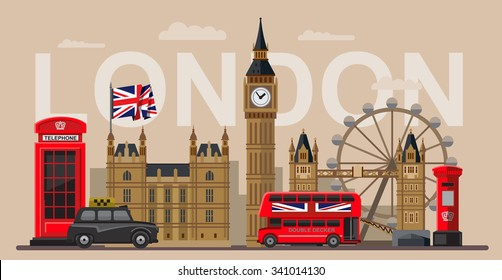 vector color great britain and london icon set