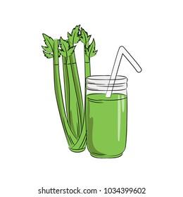 vector color green celery vegetable smoothy drink in jar. healthy. vegetarian. menu. cafe