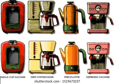 Vector color hand drawn illustration set of coffee machines. Single-cup maker, drip coffeemaker, percolator and espresso machine. isolated on white background.
