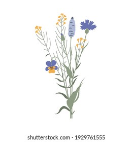 Vector color hand drawn illustration with a summer bouquet of wildflowers. Minimalist Flower, herb and medicinal plant. For logo design, tattoo, decor, postcard
