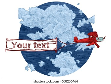 Vector color hand drawn illustration of vintage red biplane with flying advertising banner. Airplane on the blue sky background. Place for your text.