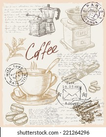 vector color hand drawn picture of coffee theme