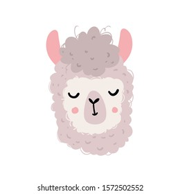 Vector color hand-drawn children`s illustration, poster, print, postcard with a cute cheerful smiling llama in Scandinavian style on a white background. Cute baby animals. Alpaca. Isolated objects.