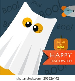 Vector color happy halloween gost cat. Eps 10