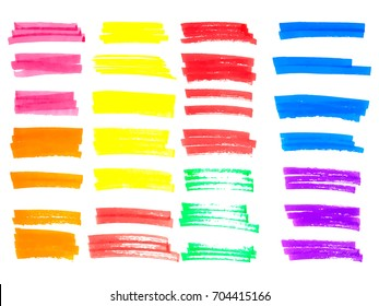 Vector color highlighter brush lines. Hand drawing.
