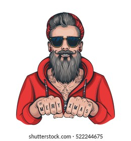 Vector Color Hipster Tattoo Santa Illustration