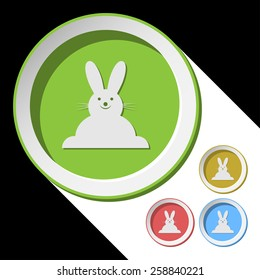 vector color icons with Easter bunny and stylized shadow