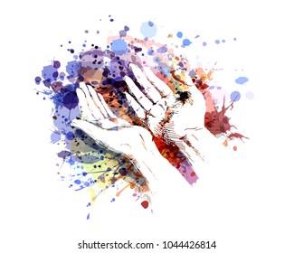 Vector color illustration of a begging hands