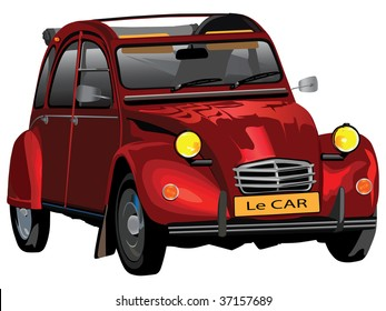 Vector color illustration of Citroen legendary classic car from more than fifty years ago.