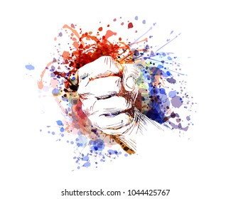 Vector color illustration of a clenched hand