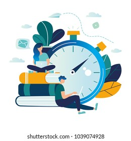 vector color illustration, distance learning, online courses, education, online books and textbooks, collective learning, exam preparation, solve the task of speed